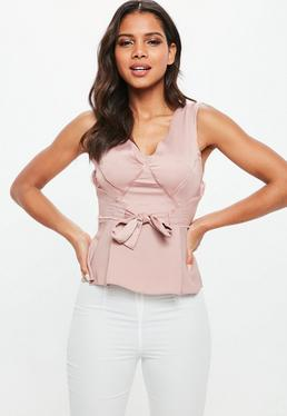Pink Raw Edge Satin Tie Cami Top