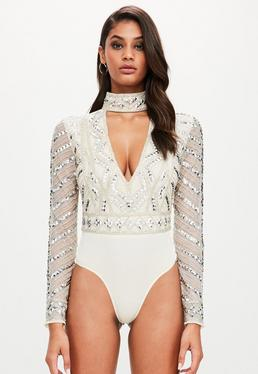 Peace + Love Silver Choker Neck Embellished Bodysuit