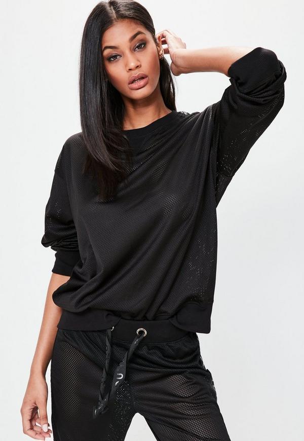 Londunn + Missguided Black Mesh Longline Sweater
