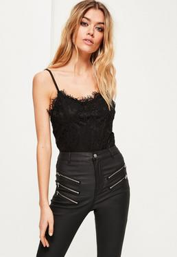 Black Lace Overlay Bodysuit