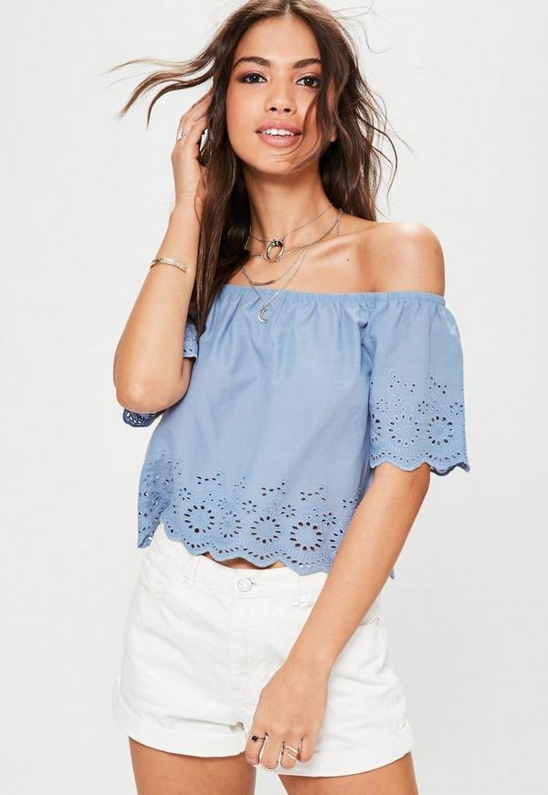 Blue Embroidery Trim Scallop Hem Bardot Top
