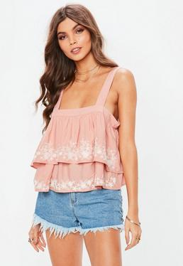 Pink Double Layered Embroidered Cami Top