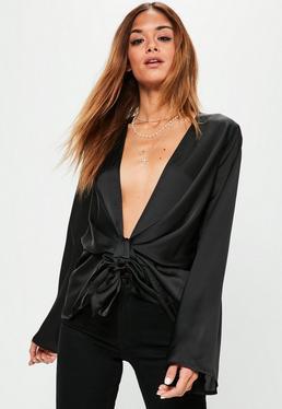 Schwarze Satin Knotenbluse Bluse mit tiefem V-Ausschnitt