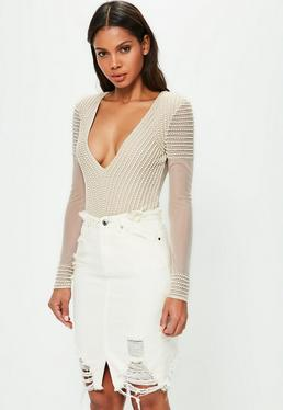 Peace + Love Nude Striped Pearl Embellished Bodysuit
