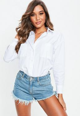 White Basic Cotton Poplin Shirt