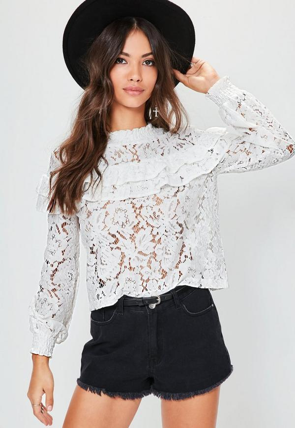 White High Neck Lace Frill Blouse