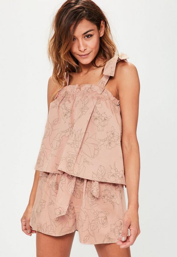 Pink Tie Shoulder Floral Printed Cotton Top