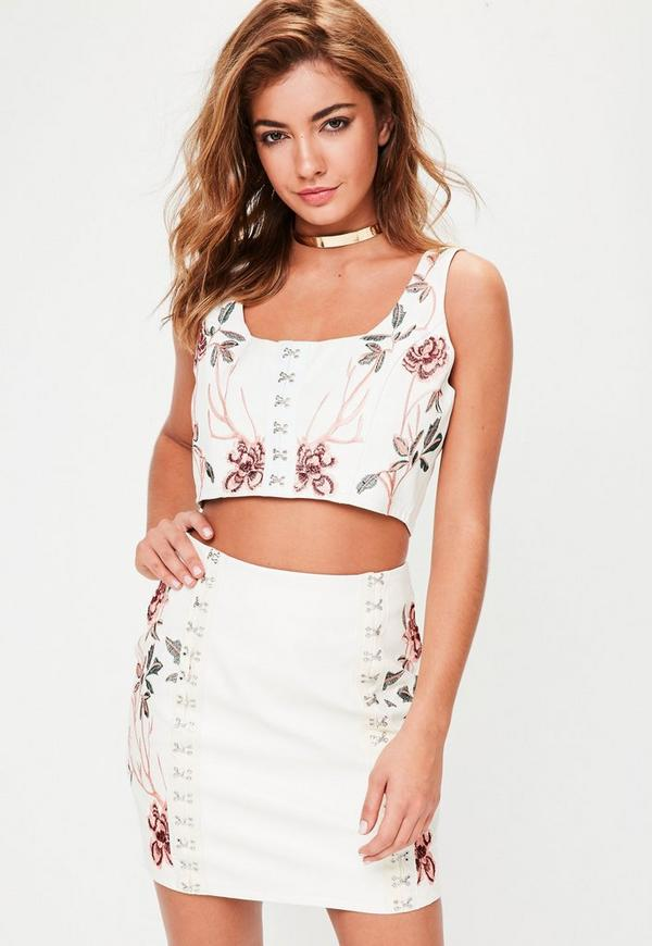White Faux Leather Hook Eye Embroidered Crop Top