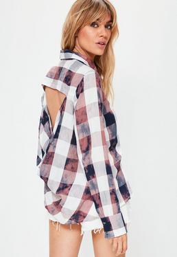 Camisa de cuadros efecto lavado con espalda redonda en nude