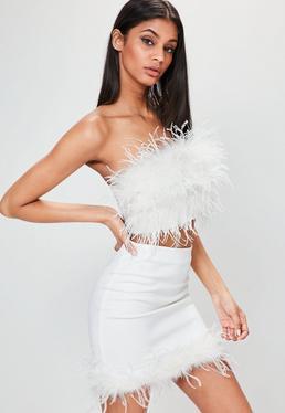 Bustier blanc à plumes