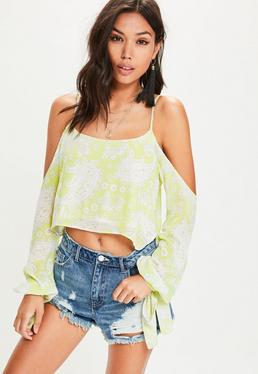 Green Cold Shoulder Tie Sleeve Paisley Print Crop Blouse