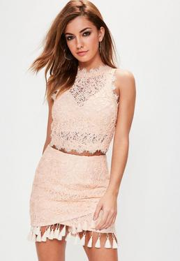 Nude Cornelli Lace Sleeveless Crop Top