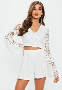 White Lace Bell Sleeve V Neck Crop Top