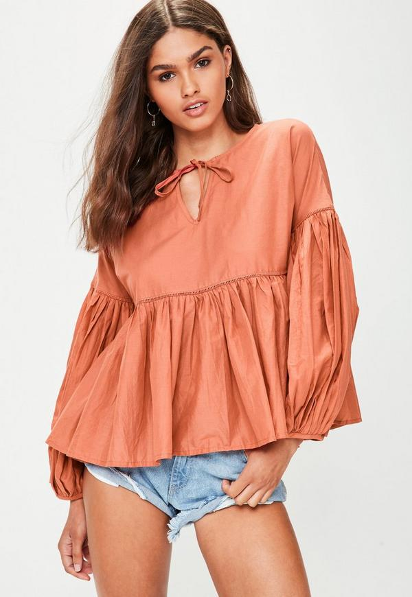 Orange Tie Front Balloon Sleeve Top