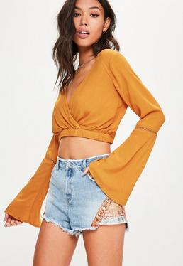 Orange Ladder Trim Wrap cheesecloth Crop Top