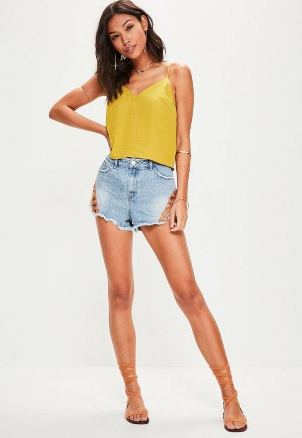 yellow satin cami yellow satin cowl back v neck cami top missguided 7428
