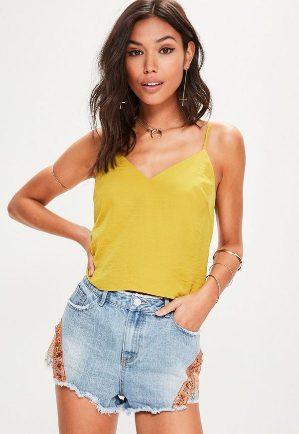 yellow satin cami yellow satin cowl back v neck cami top missguided australia 3119