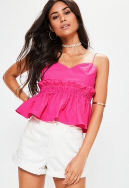Pink Paper Bag Waist Cami Top