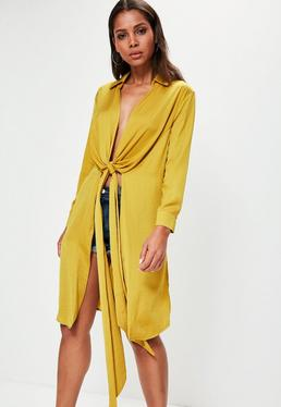 Yellow Hammered Satin Twist Front Longline Shirt