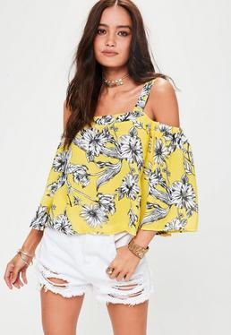 Yellow Floral Supported Bardot Blouse