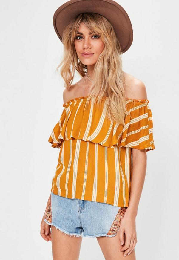 Orange Striped Frill Bardot Top