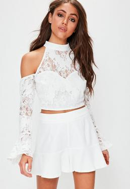 White Cold Shoulder Frill Sleeve Lace Crop Top