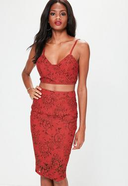Red Lace Printed Crop Top