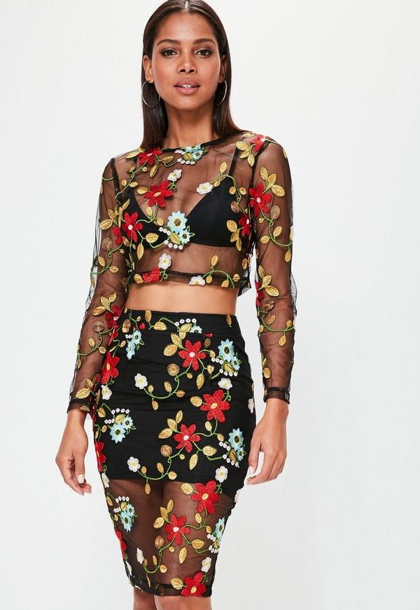Black Mesh Floral Embroidered Crop Top