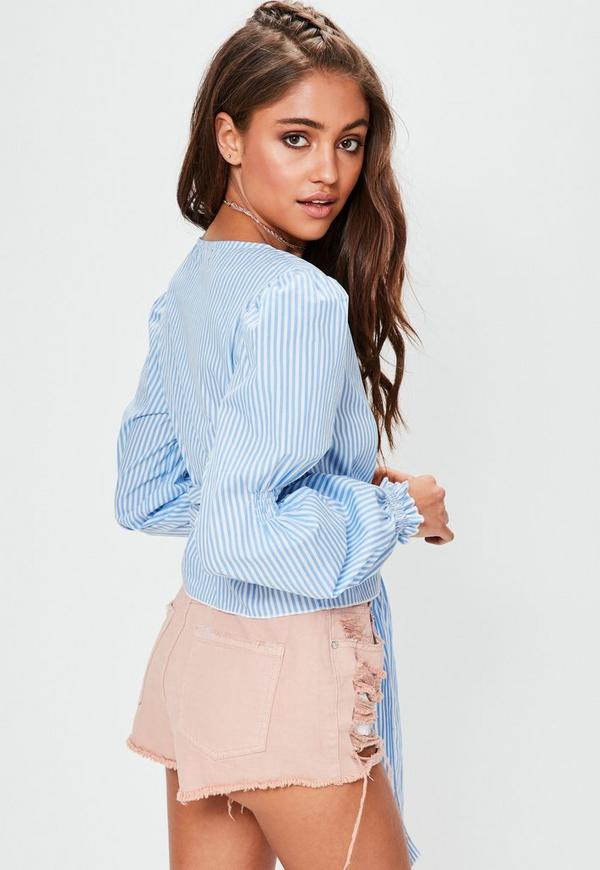 Blue Striped Wrap Over Tie Side Blouse Missguided