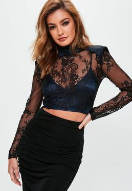 Navy Lace Detail High Neck Cropped Top