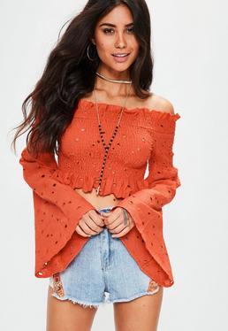 Orange Extreme Sleeve Shirred Embroidered Crop Top