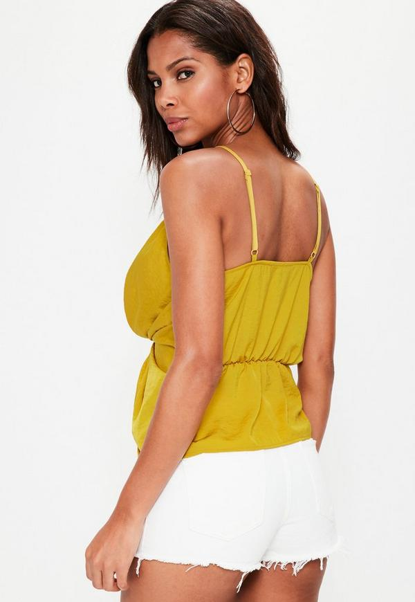 yellow satin cami mustard yellow twist front cami top missguided 8560