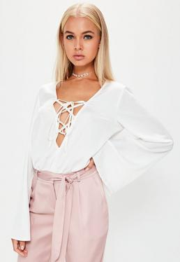 White Lace Up Front Satin Bodysuit