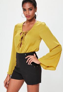 Yellow Lace Up Satin Bodysuit