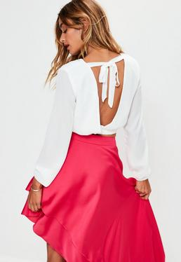 White Plunge Back Wrap Cropped Blouse