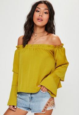 Żółto-zielona satynowa bluzka bardot