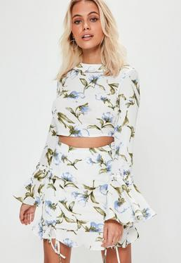 White Lattice Sleeve Floral Printed Cropped Blouse