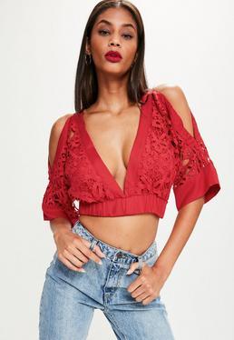 Red Elastic Waist Kimono Sleeve Lace Crop Top