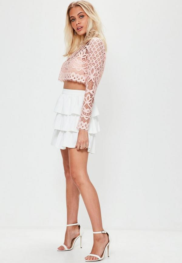 Nude Patterned Lace Crop Top