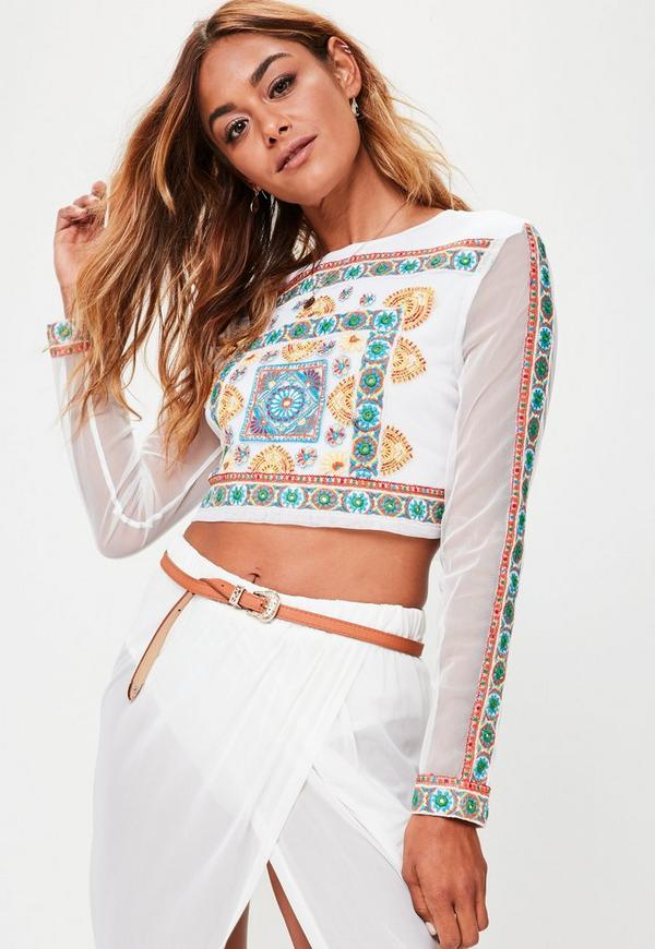 White Mesh Sleeve Embroidered Crop Top