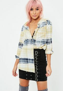 Blue Bleached Oversized Checked Shirt