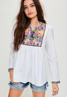 White Embroidered Yoke Pompom Trim Woven Top