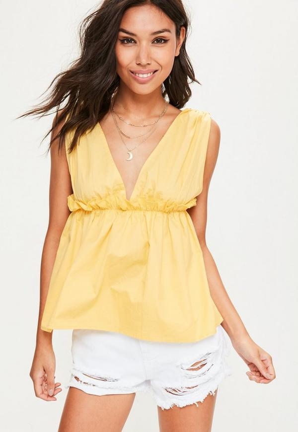 Yellow Elasticated Frill Plunge Cami Top