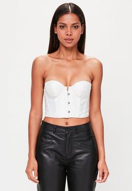 Peace + Love White Bandeau Satin Corset Top