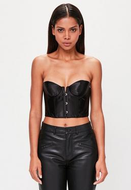 Peace + Love Black Bandeau Satin Corset Top