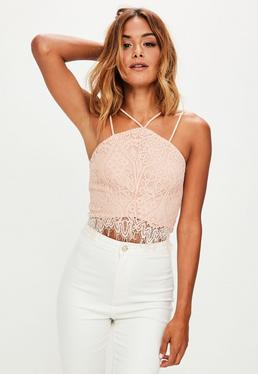 Pink Double Strap Lace Crop Top