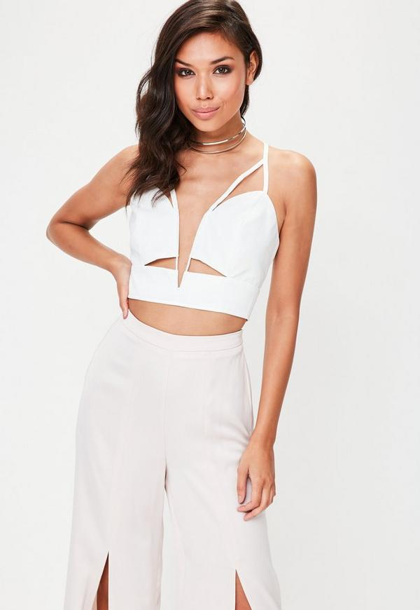 White V Neck Bralet