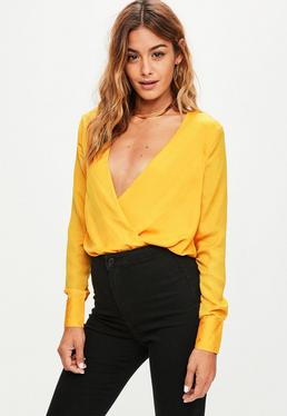 Yellow Wrap Front Hammered Satin Bodysuit