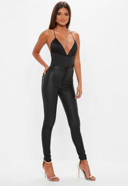 Black Basic Satin Bodysuit