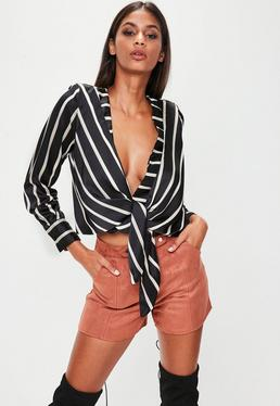 Black Striped Tie Front Blouse